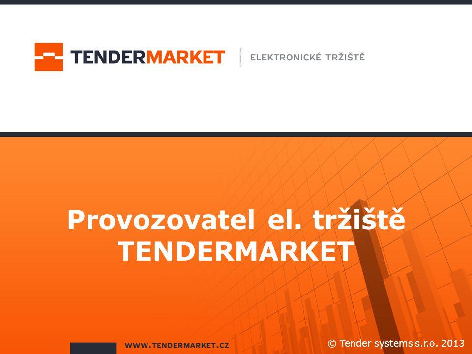 Provozovatel el. tržiště TENDERMARKET
