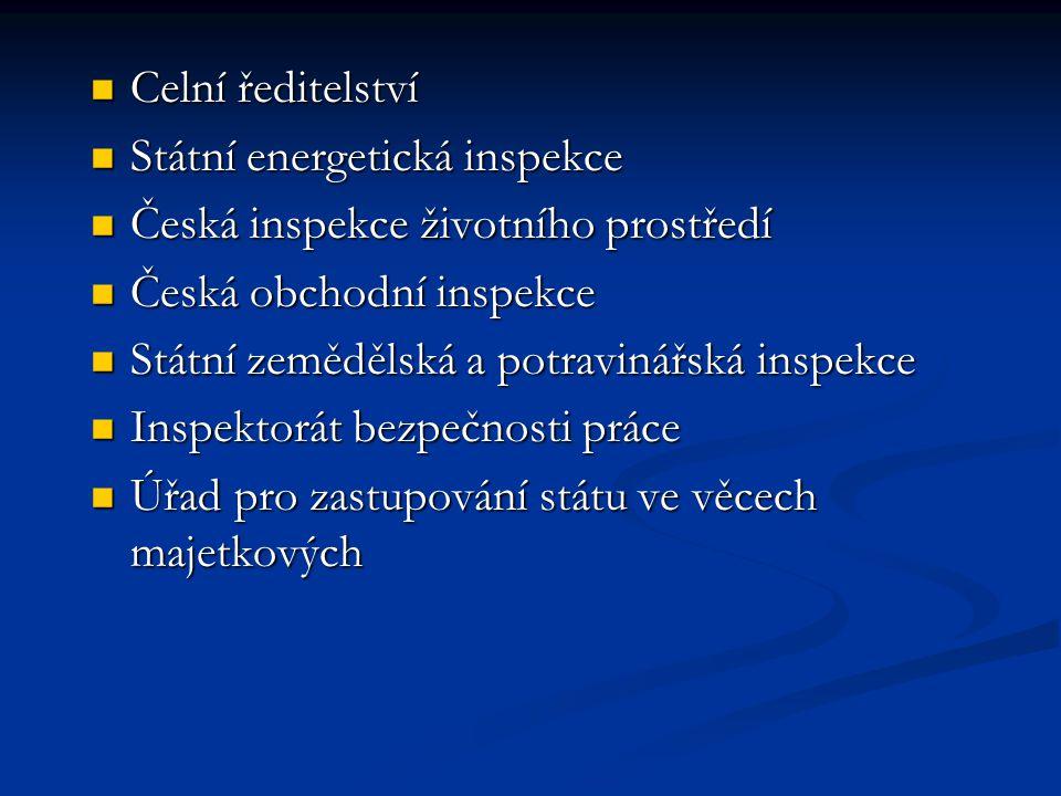 Celní ředitelství Státní energetická inspekce. Česká inspekce životního prostředí. Česká obchodní inspekce.