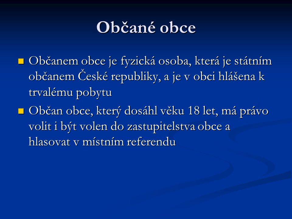 Občané obce Občanem obce je fyzická osoba, která je státním občanem České republiky, a je v obci hlášena k trvalému pobytu.