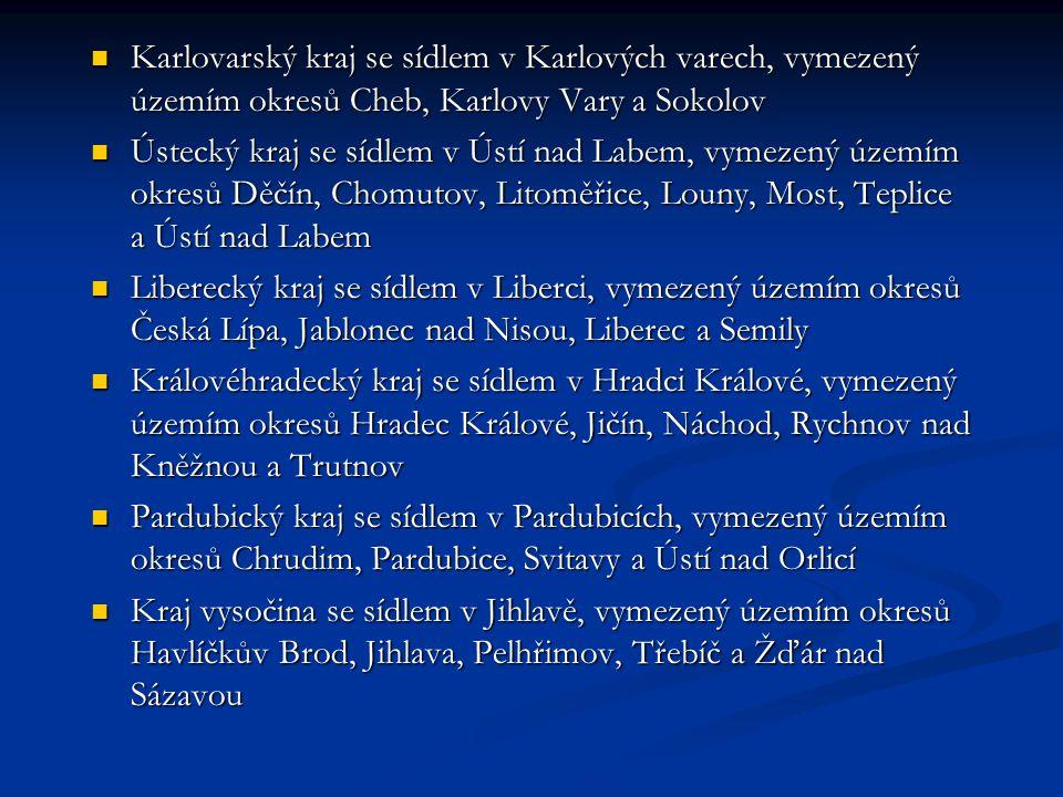 Karlovarský kraj se sídlem v Karlových varech, vymezený územím okresů Cheb, Karlovy Vary a Sokolov