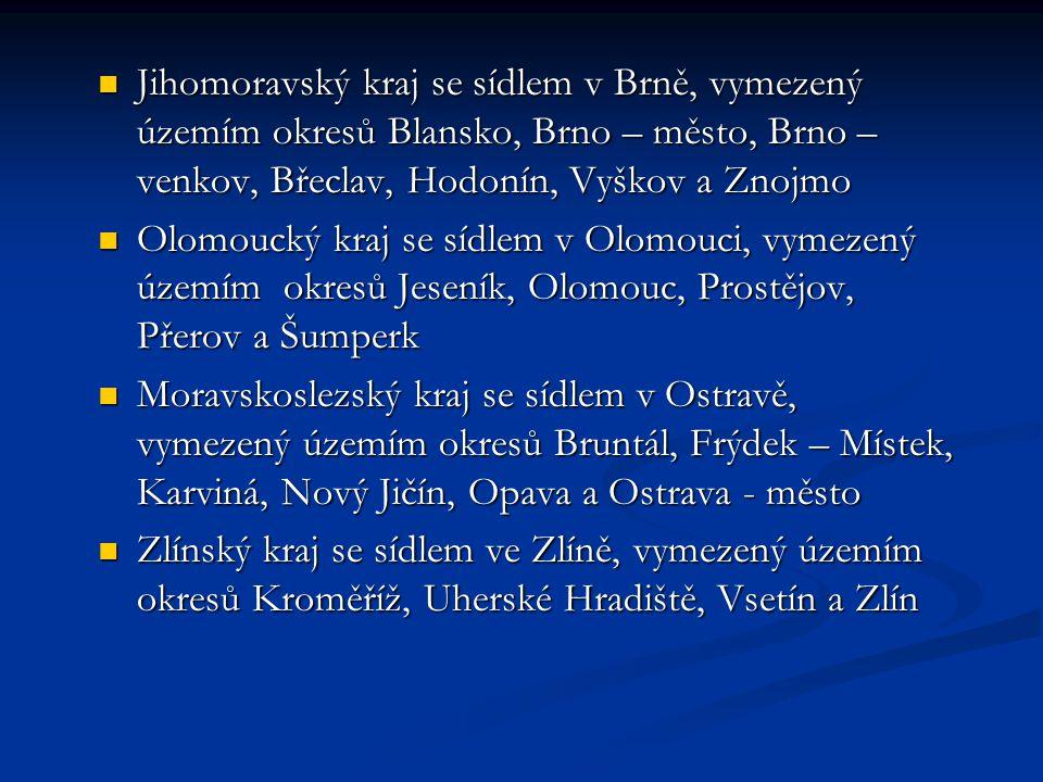 Jihomoravský kraj se sídlem v Brně, vymezený územím okresů Blansko, Brno – město, Brno – venkov, Břeclav, Hodonín, Vyškov a Znojmo