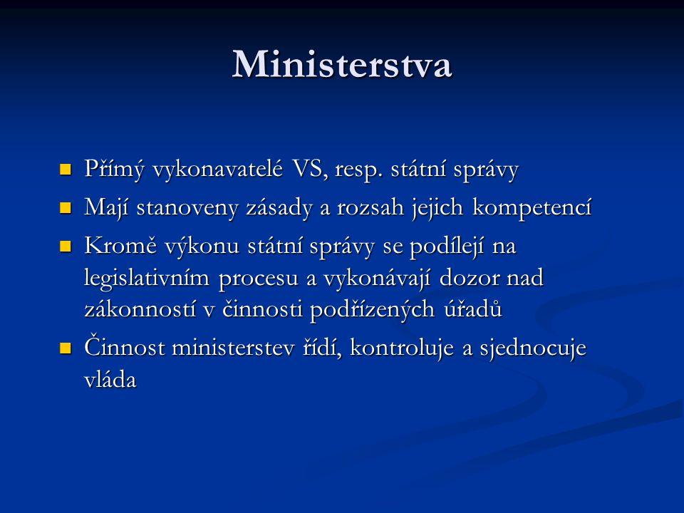 Ministerstva Přímý vykonavatelé VS, resp. státní správy