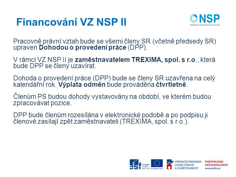 Financování VZ NSP II Pracovně právní vztah bude se všemi členy SR (včetně předsedy SR) upraven Dohodou o provedení práce (DPP).