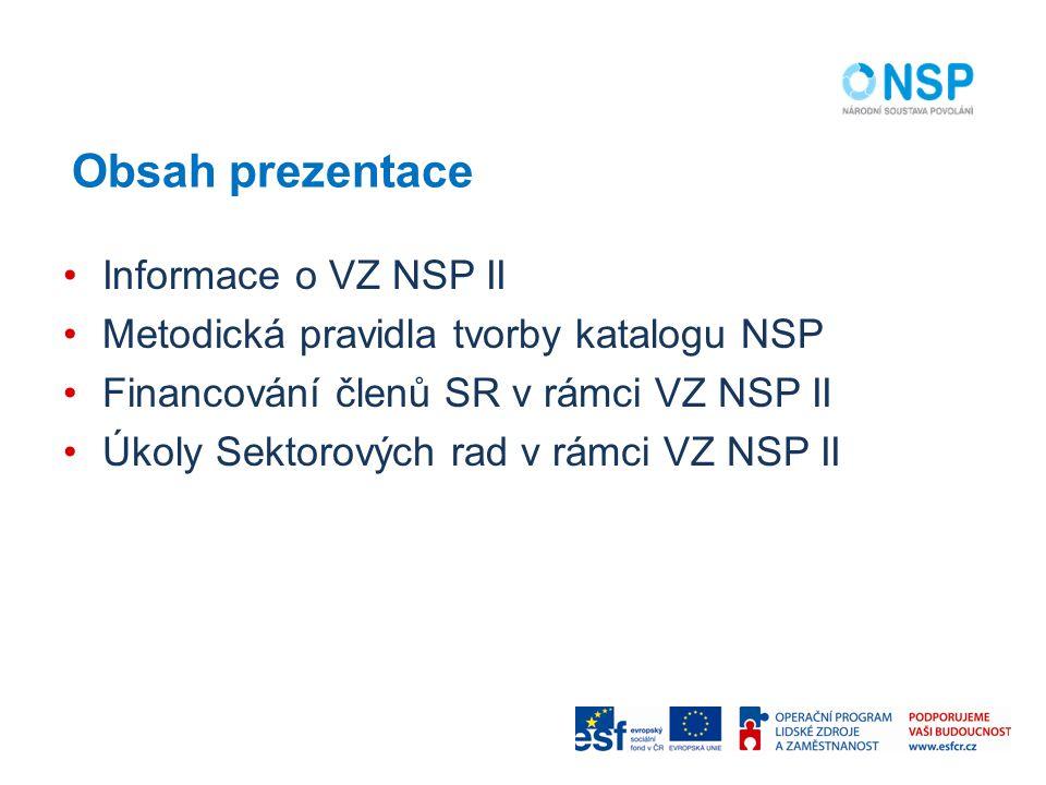 Obsah prezentace Informace o VZ NSP II