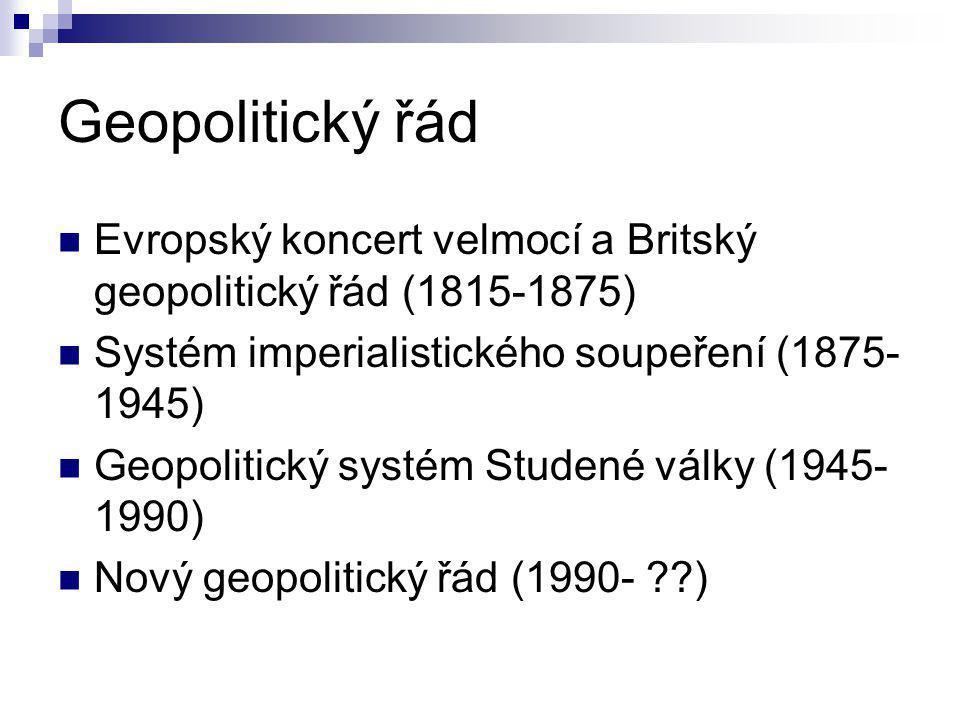 Geopolitický řád Evropský koncert velmocí a Britský geopolitický řád (1815-1875) Systém imperialistického soupeření (1875-1945)
