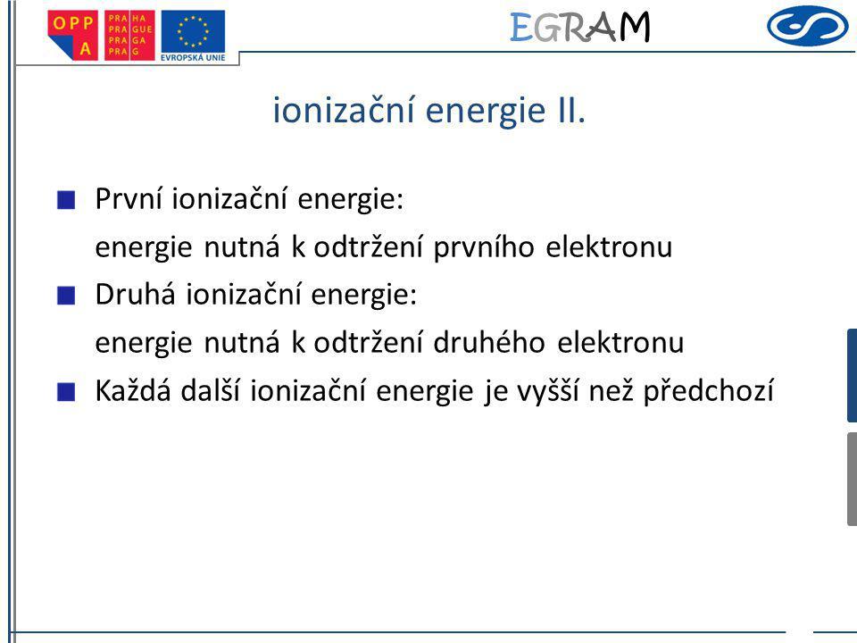 ionizační energie II. První ionizační energie: