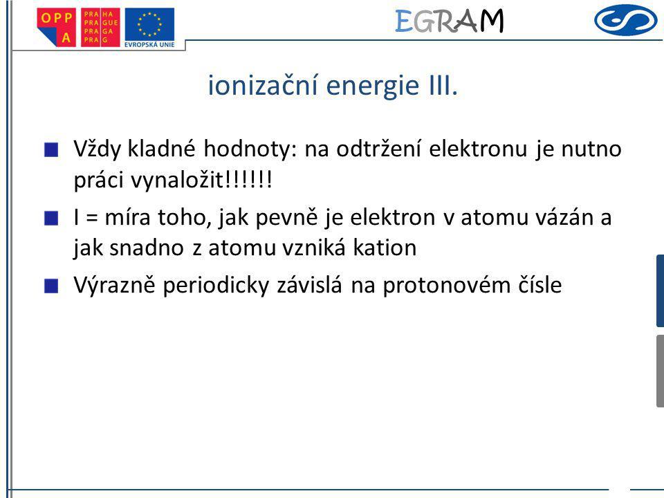 ionizační energie III. Vždy kladné hodnoty: na odtržení elektronu je nutno práci vynaložit!!!!!!