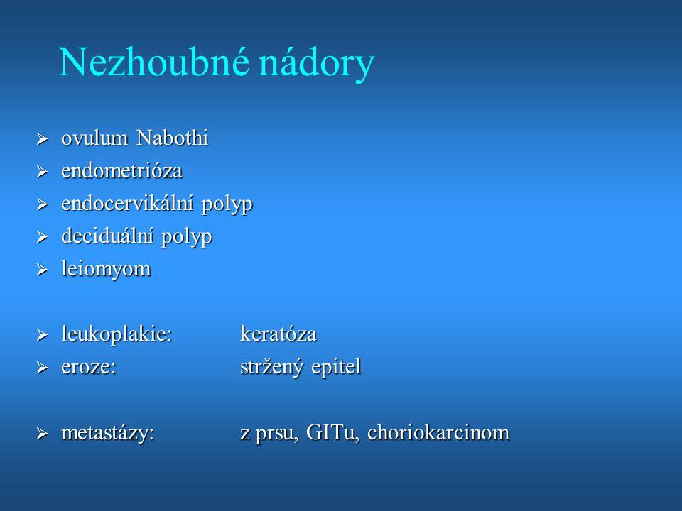 Nezhoubné nádory ovulum Nabothi endometrióza endocervikální polyp