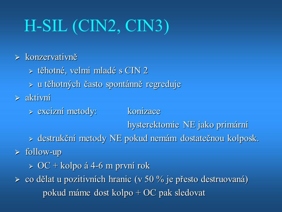H-SIL (CIN2, CIN3) konzervativně těhotné, velmi mladé s CIN 2
