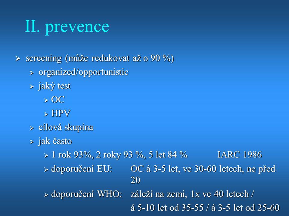 II. prevence screening (může redukovat až o 90 %)