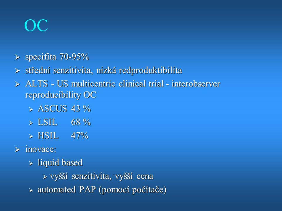 OC specifita 70-95% střední senzitivita, nízká redproduktibilita