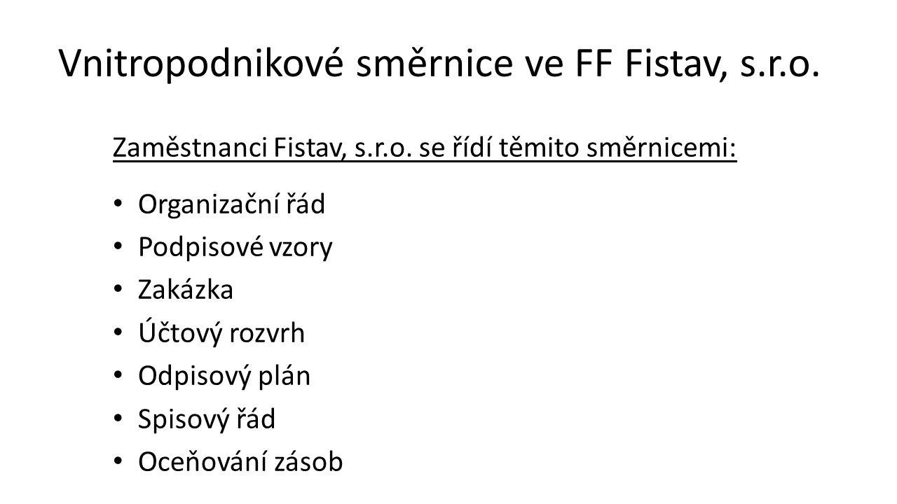 Vnitropodnikové směrnice ve FF Fistav, s.r.o.