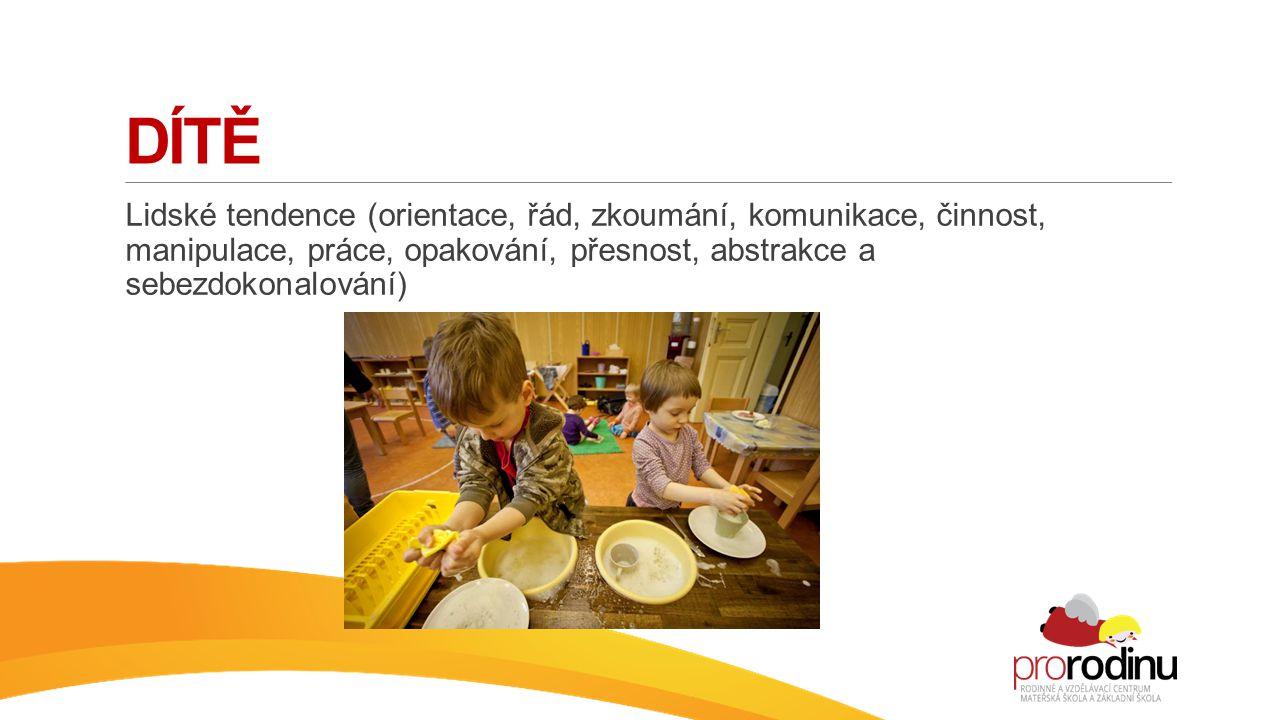 Dítě Lidské tendence (orientace, řád, zkoumání, komunikace, činnost, manipulace, práce, opakování, přesnost, abstrakce a sebezdokonalování)