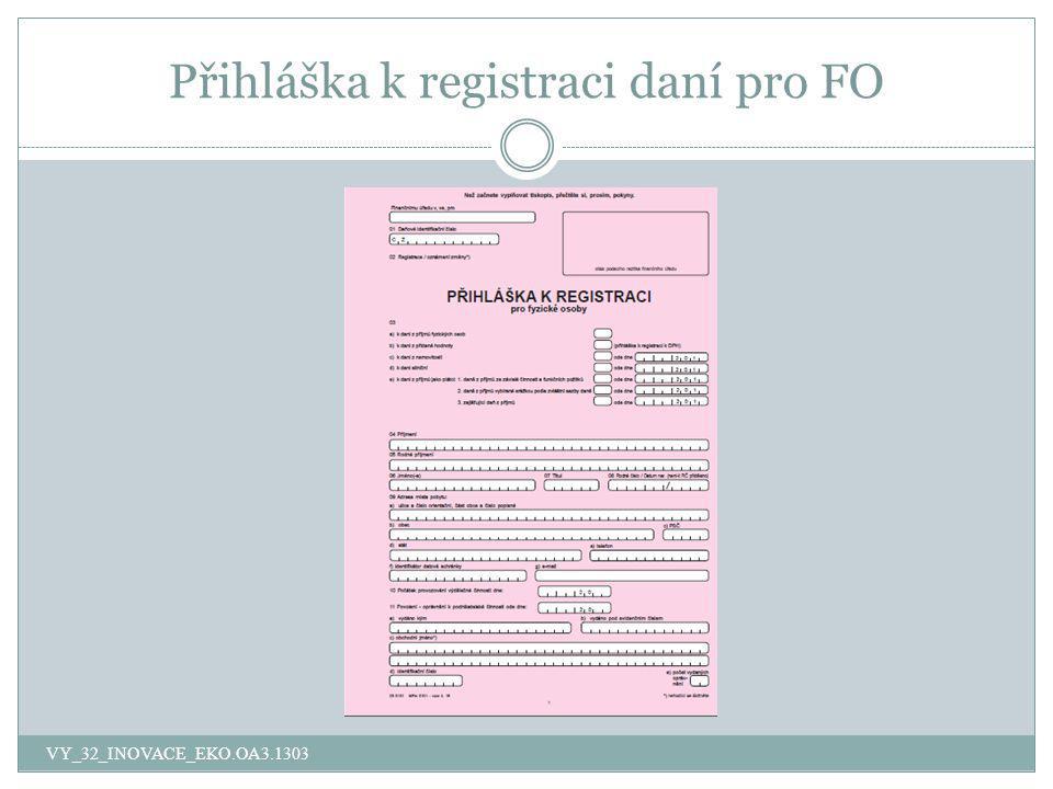 Přihláška k registraci daní pro FO