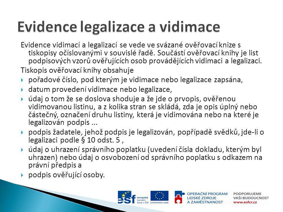 Evidence legalizace a vidimace