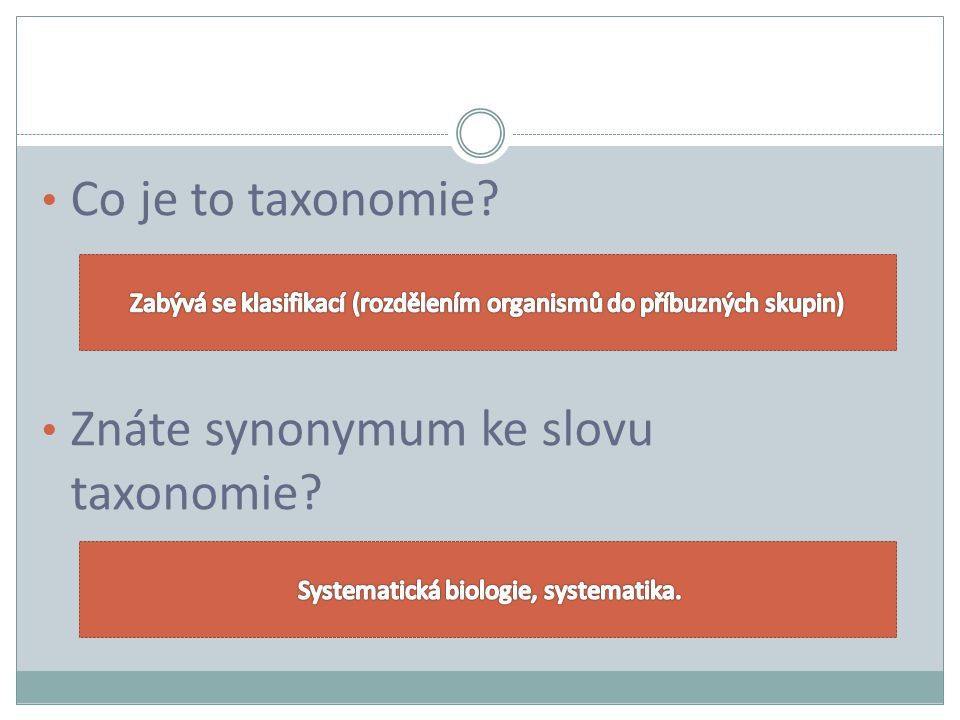 Znáte synonymum ke slovu taxonomie