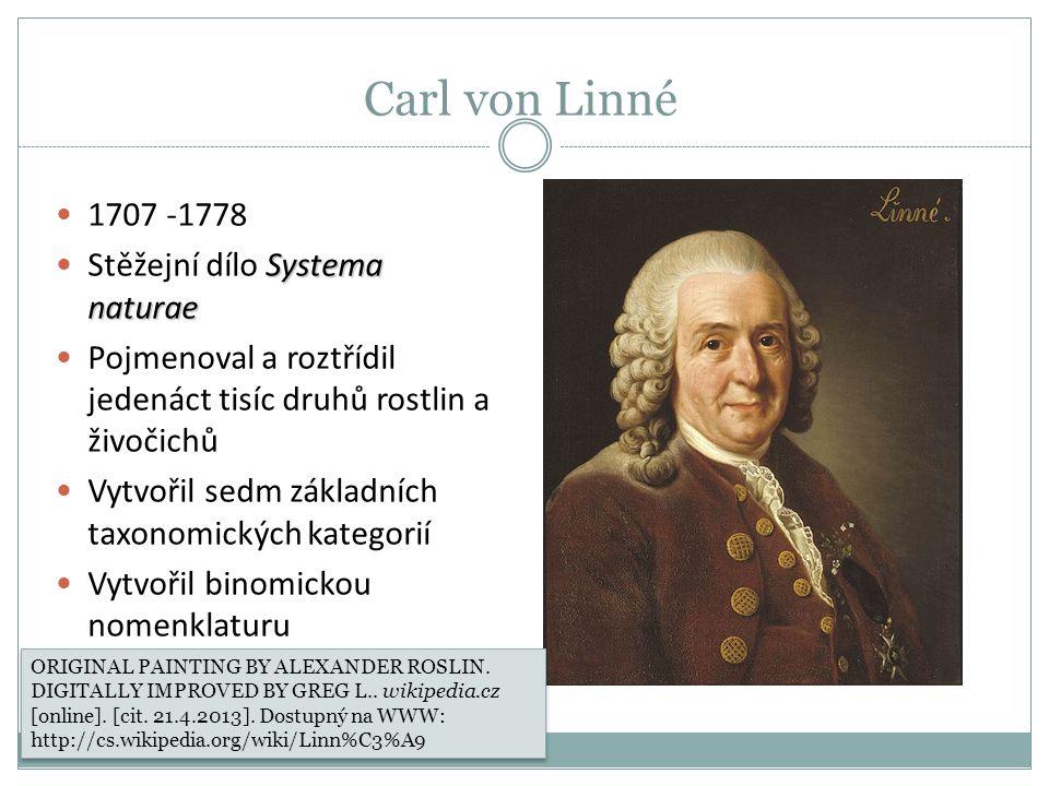 Carl von Linné 1707 -1778 Stěžejní dílo Systema naturae