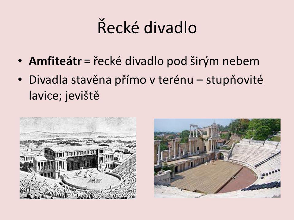 Řecké divadlo Amfiteátr = řecké divadlo pod širým nebem