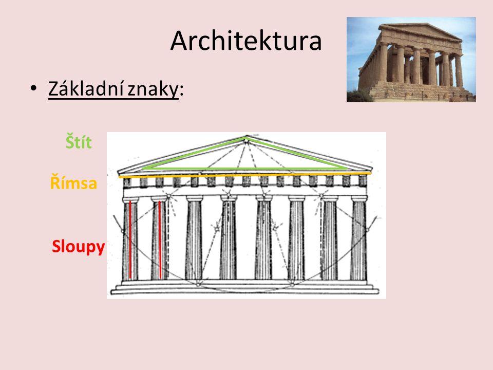 Architektura Základní znaky: Štít Římsa Sloupy