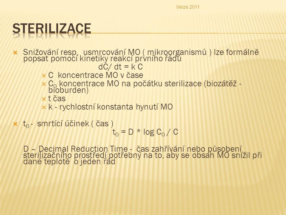 Verze 2011 Sterilizace. Snižování resp. usmrcování MO ( mikroorganismů ) lze formálně popsat pomocí kinetiky reakcí prvního řádu.