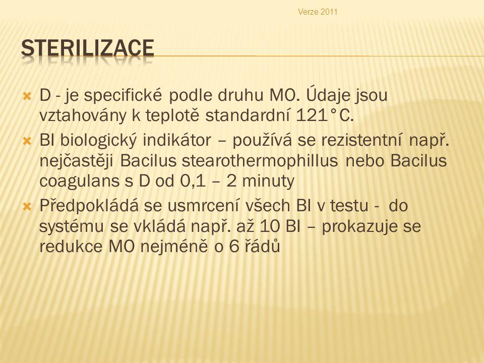 Verze 2011 Sterilizace. D - je specifické podle druhu MO. Údaje jsou vztahovány k teplotě standardní 121°C.