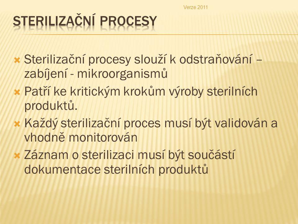 Verze 2011 Sterilizační procesy. Sterilizační procesy slouží k odstraňování – zabíjení - mikroorganismů.