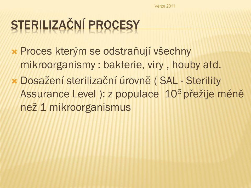 Verze 2011 Sterilizační procesy. Proces kterým se odstraňují všechny mikroorganismy : bakterie, viry , houby atd.