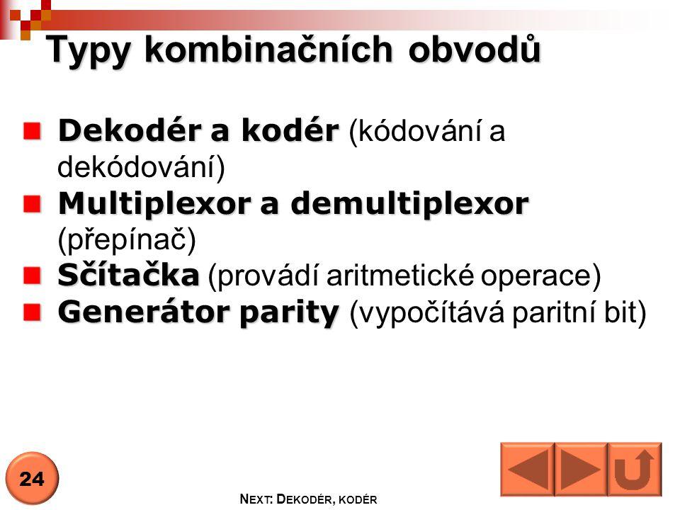 Typy kombinačních obvodů