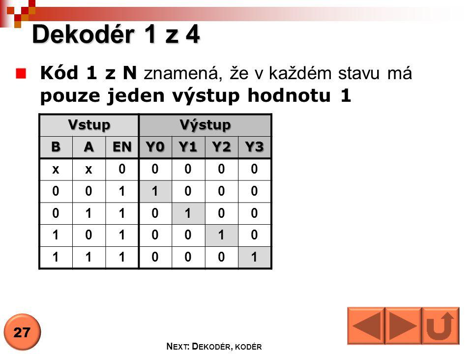 Dekodér 1 z 4 Kód 1 z N znamená, že v každém stavu má pouze jeden výstup hodnotu 1. Vstup. Výstup.