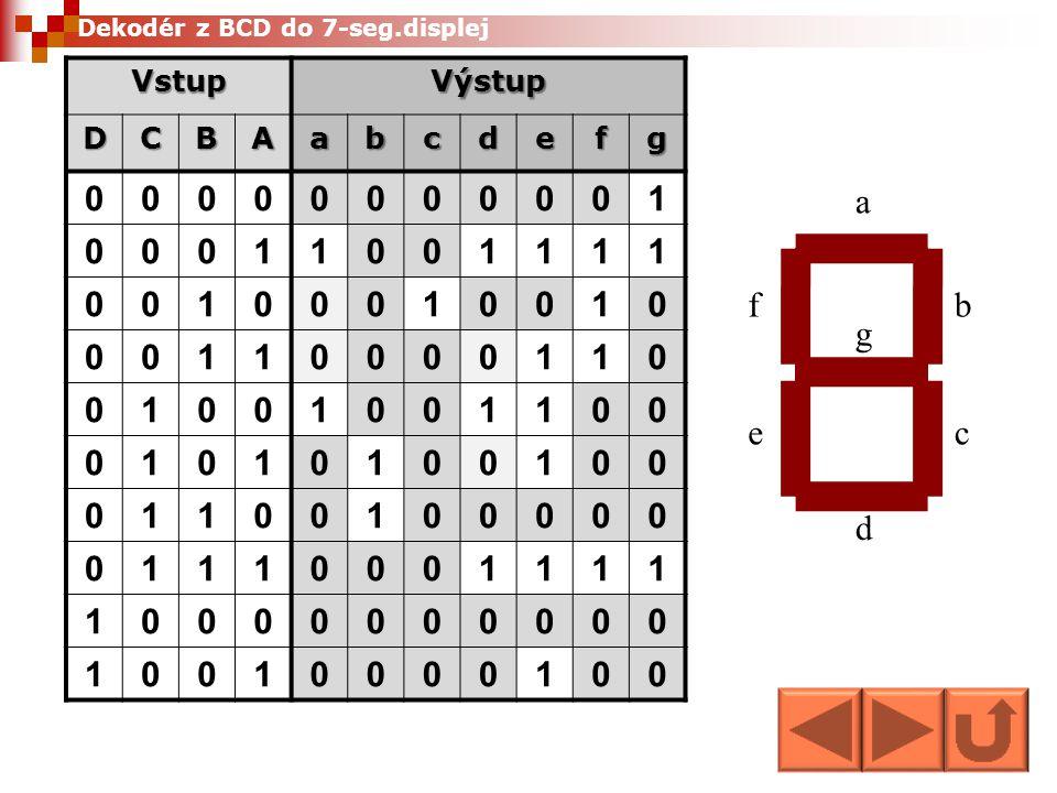 1 a b c d e f g Vstup Výstup D C B A a b c d e f g