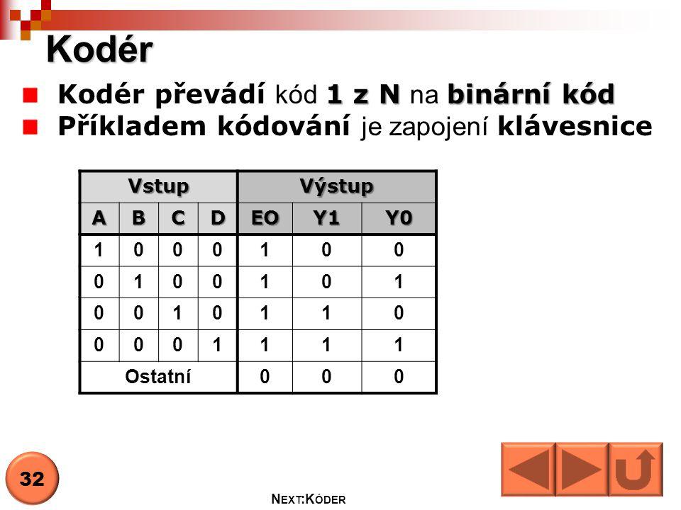 Kodér Kodér převádí kód 1 z N na binární kód