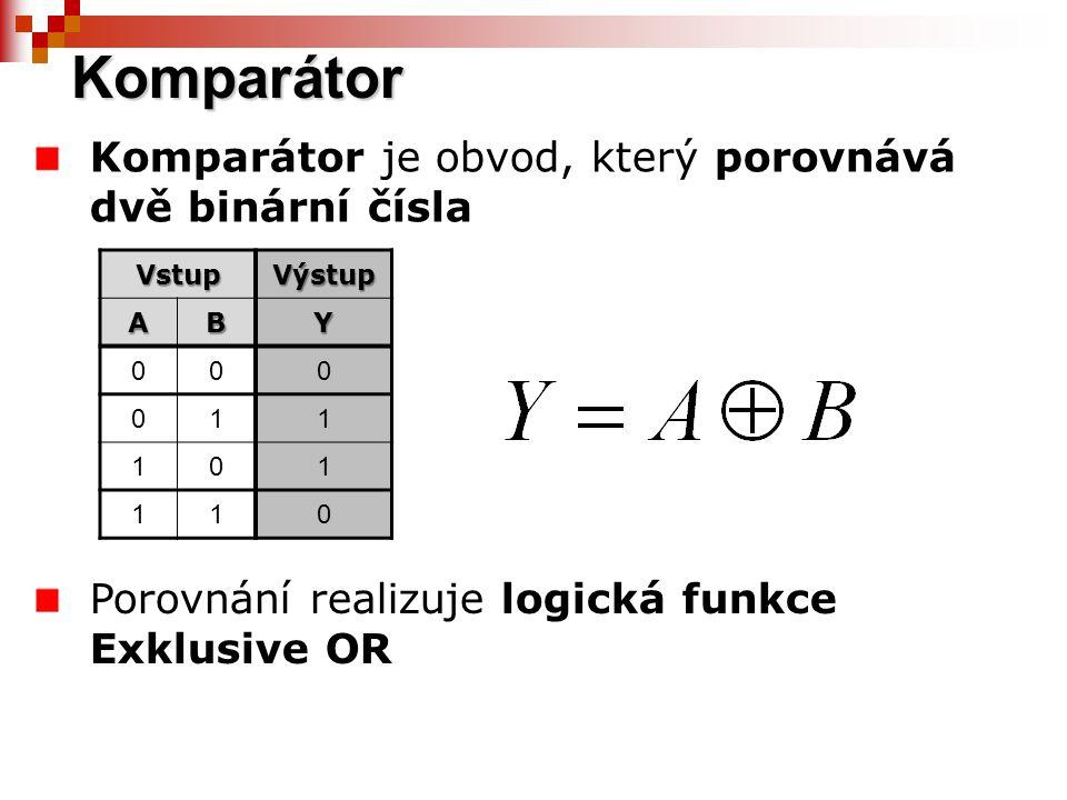 Komparátor Komparátor je obvod, který porovnává dvě binární čísla