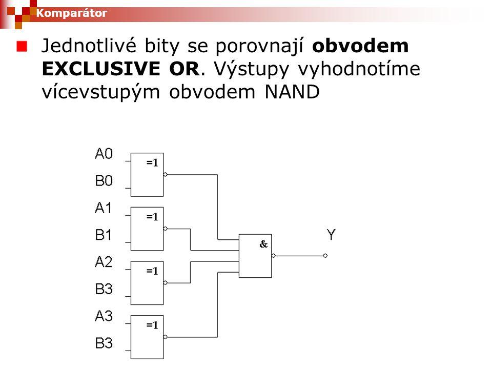 Komparátor Jednotlivé bity se porovnají obvodem EXCLUSIVE OR.