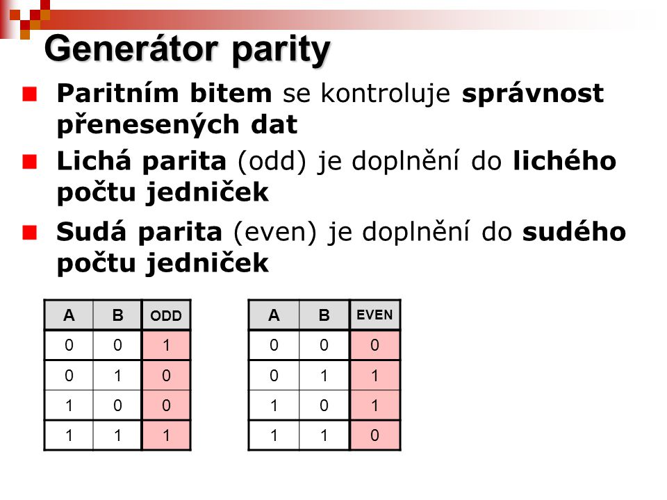 Generátor parity Paritním bitem se kontroluje správnost přenesených dat. Lichá parita (odd) je doplnění do lichého počtu jedniček.