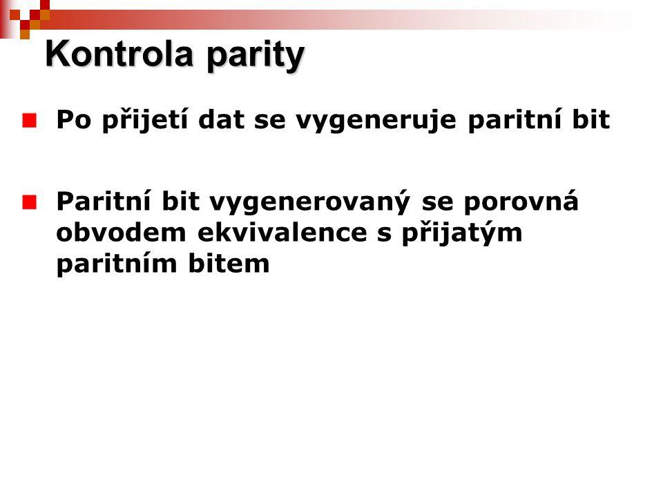 Kontrola parity Po přijetí dat se vygeneruje paritní bit
