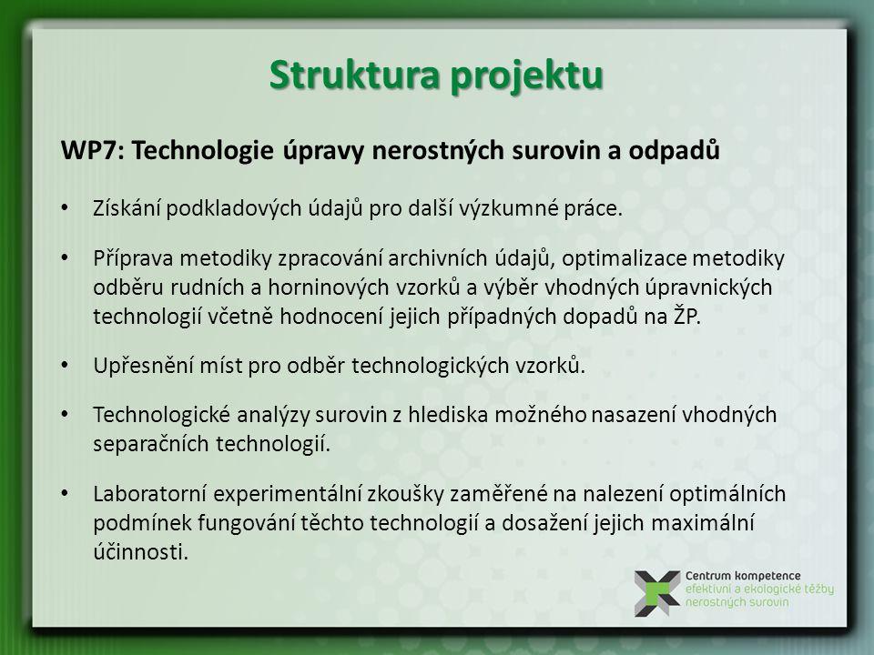 Struktura projektu WP7: Technologie úpravy nerostných surovin a odpadů