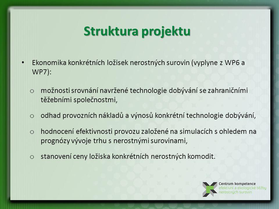 Struktura projektu Ekonomika konkrétních ložisek nerostných surovin (vyplyne z WP6 a WP7):