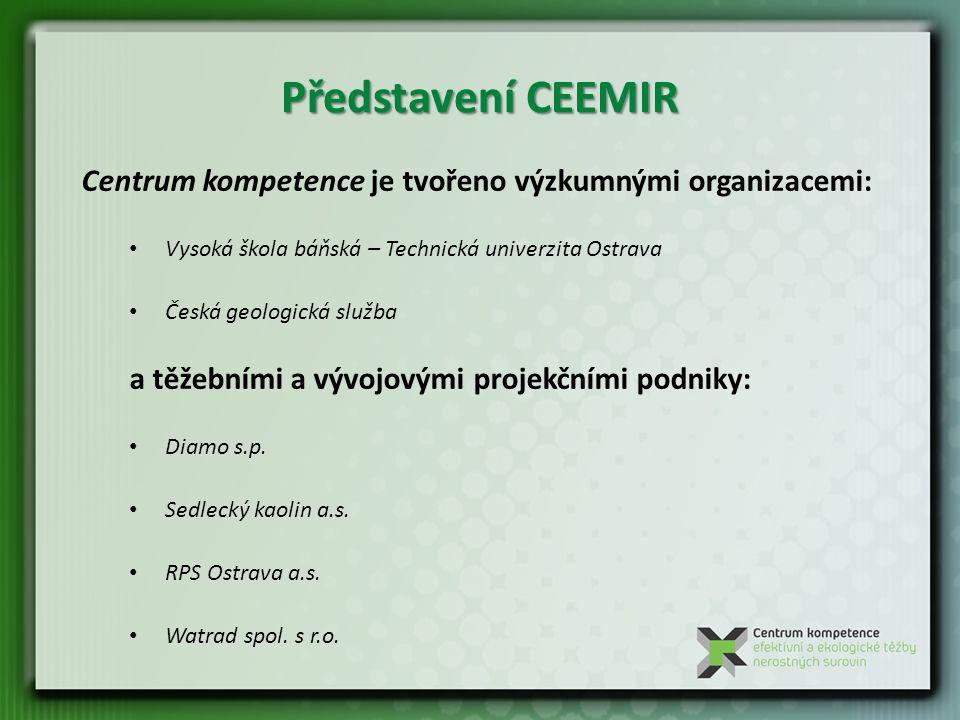 Představení CEEMIR Centrum kompetence je tvořeno výzkumnými organizacemi: Vysoká škola báňská – Technická univerzita Ostrava.