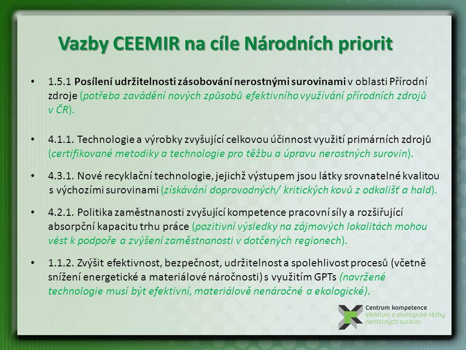 Vazby CEEMIR na cíle Národních priorit