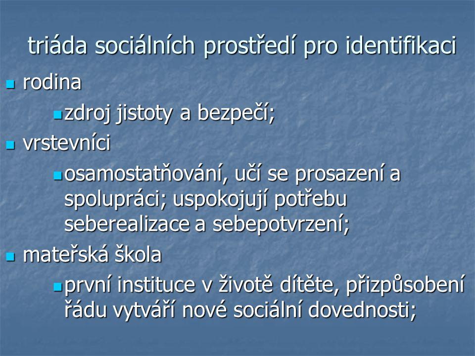 triáda sociálních prostředí pro identifikaci
