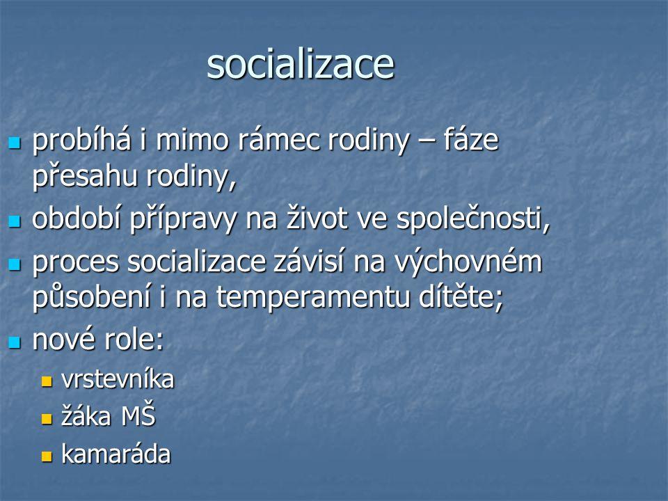 socializace probíhá i mimo rámec rodiny – fáze přesahu rodiny,