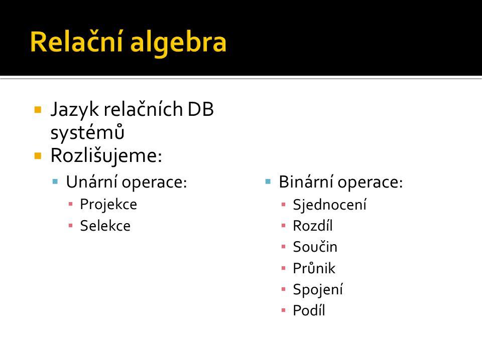 Relační algebra Jazyk relačních DB systémů Rozlišujeme: