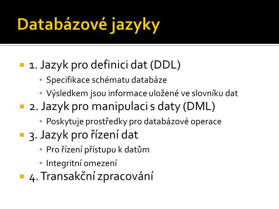 Databázové jazyky 1. Jazyk pro definici dat (DDL)