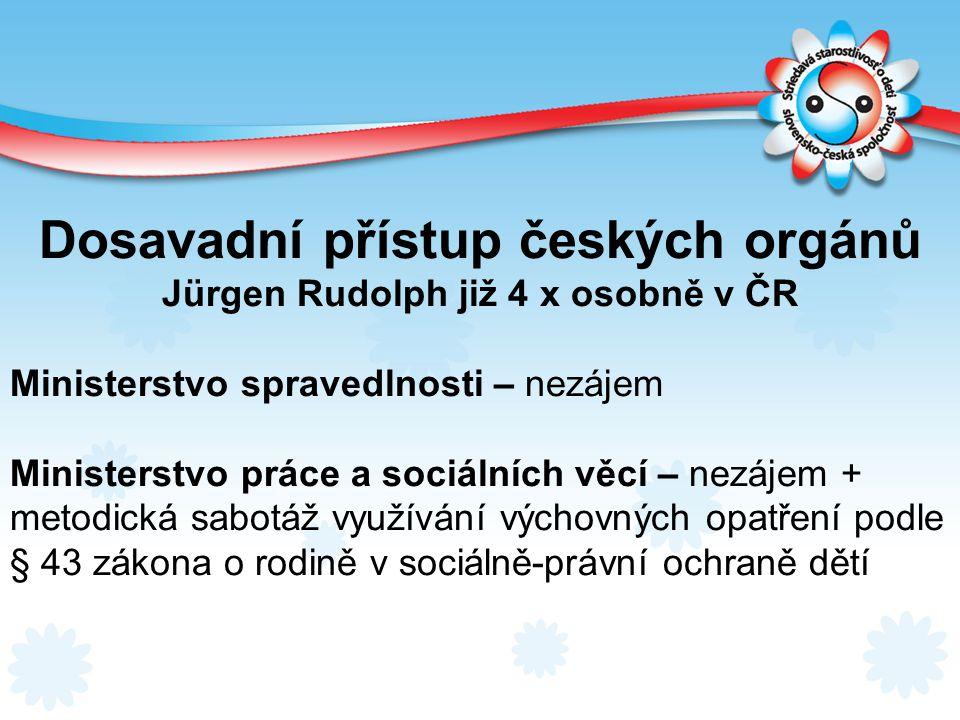 Dosavadní přístup českých orgánů Jürgen Rudolph již 4 x osobně v ČR