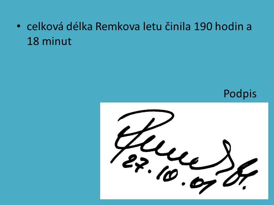 celková délka Remkova letu činila 190 hodin a 18 minut