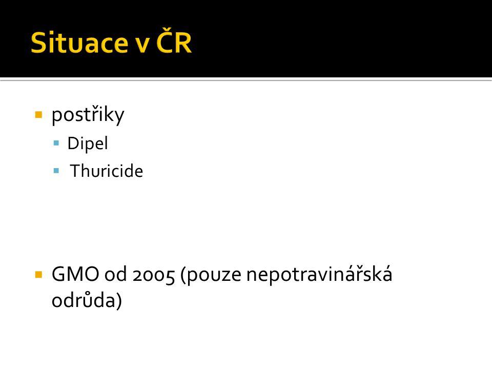 Situace v ČR postřiky GMO od 2005 (pouze nepotravinářská odrůda) Dipel