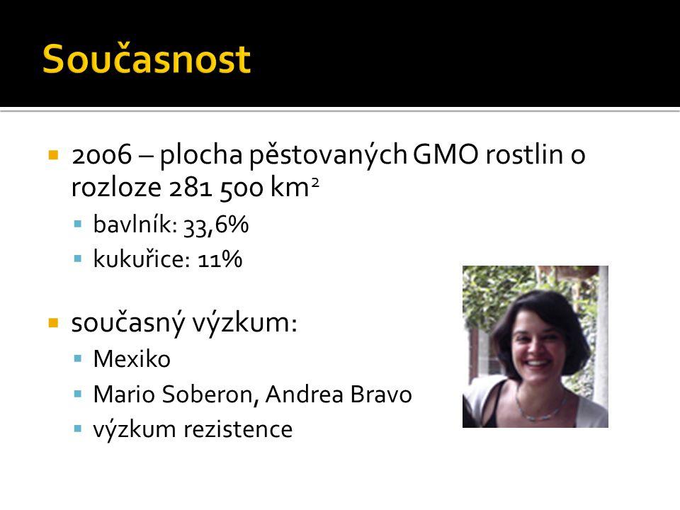 Současnost 2006 – plocha pěstovaných GMO rostlin o rozloze 281 500 km2