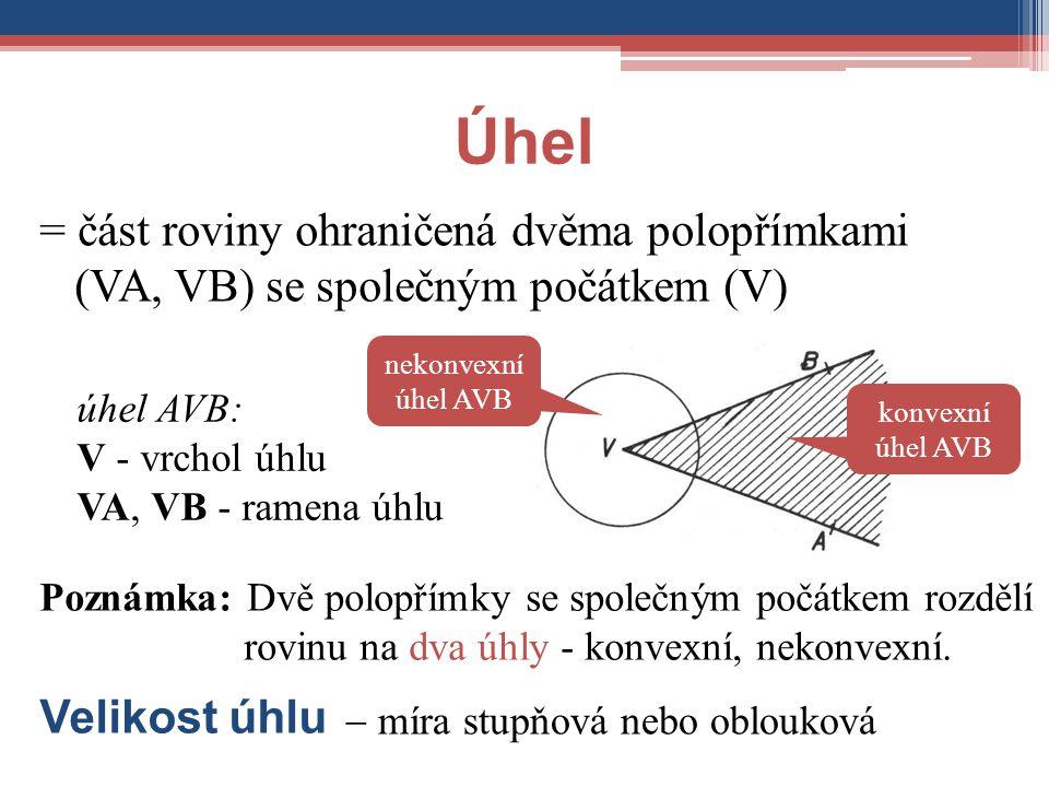 Úhel = část roviny ohraničená dvěma polopřímkami (VA, VB) se společným počátkem (V) nekonvexní úhel AVB.