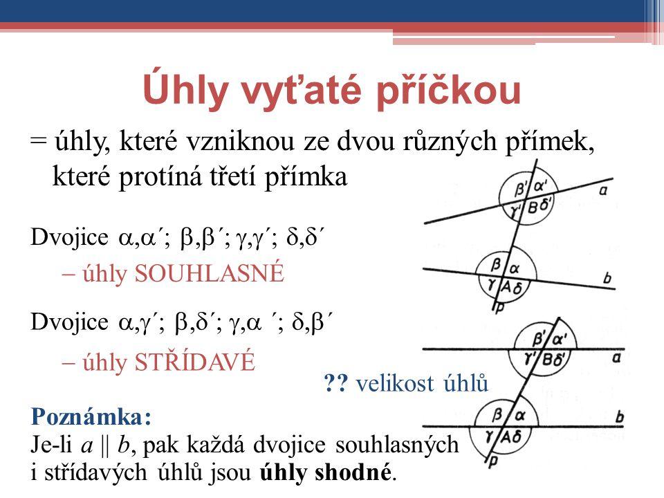 Úhly vyťaté příčkou = úhly, které vzniknou ze dvou různých přímek, které protíná třetí přímka. Dvojice ,´; ,´; ,´; ,´