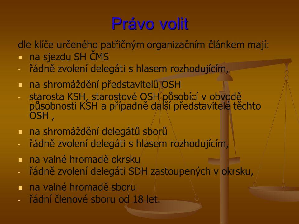 Právo volit dle klíče určeného patřičným organizačním článkem mají:
